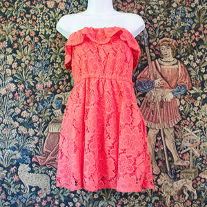 2/$20 Lace Dress Coral - Strapless - American Rag